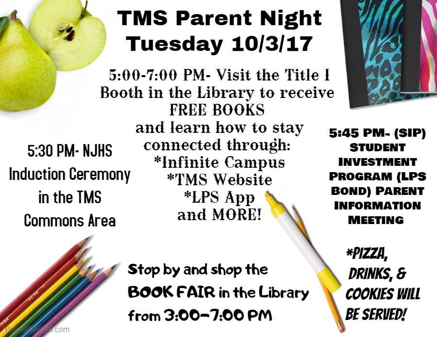 TMS Parent Night Tuesday 10/03/17