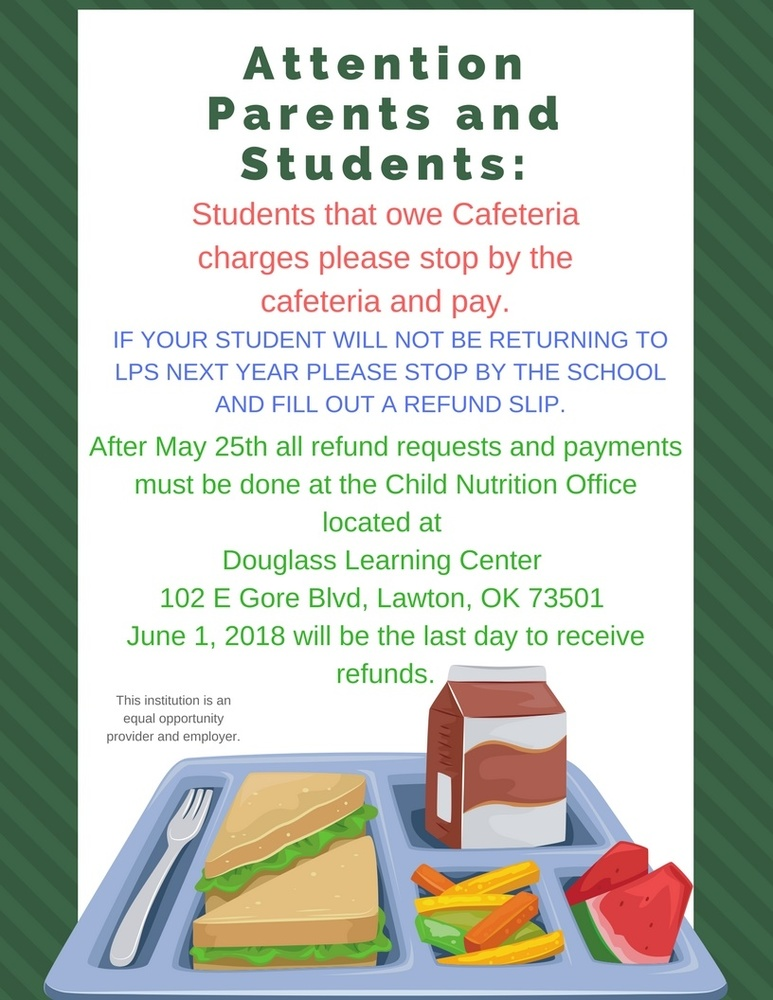 Cafeteria charges and refund requests are now due!