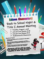 Edison Back to School Night & Title I Annual Meeting