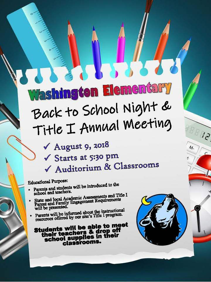 Washington Back to School Night & Title I Annual Meeting