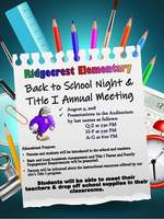 Ridgecrest Back to School Night & Title I Annual Meeting