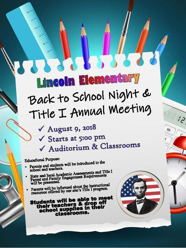 Lincoln Back to School Night & Title I Annual Meeting