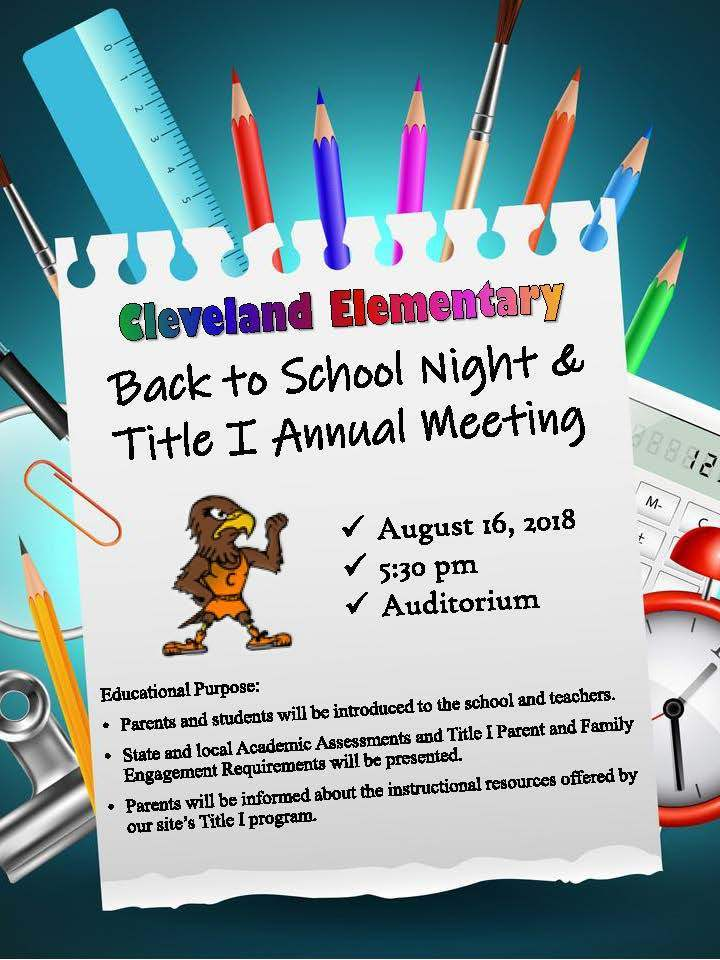 Cleveland Back to School Night & Title I Annual Meeting