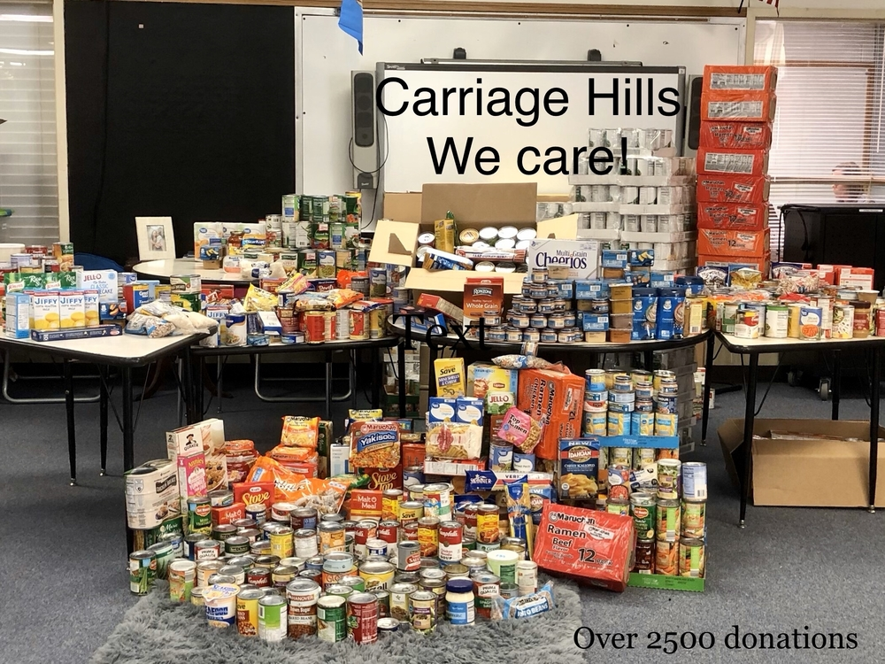 Carriage Hills Elementary School canned food drive 2019