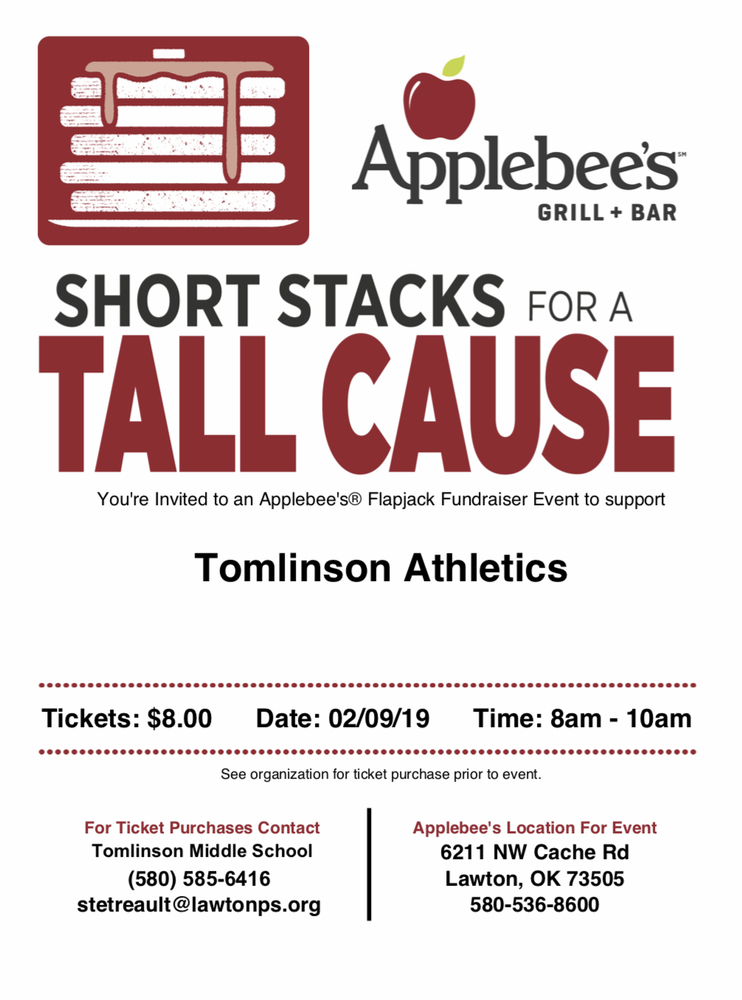 Tomlinson Athletics Fundraiser at Applebee's.