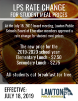 2019-2020 New Lunch Prices