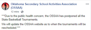 OSSAA Postpones State Tournaments