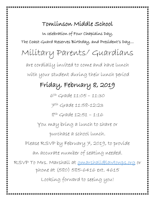 Military Lunch Flyer