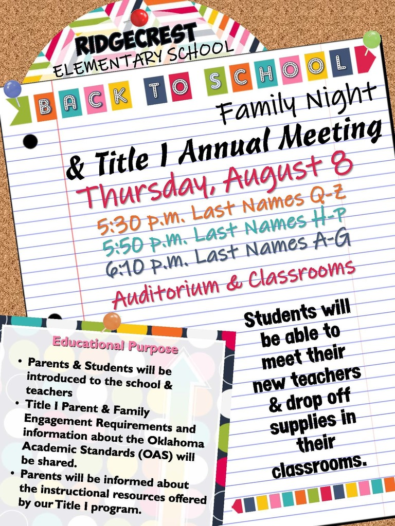 Back to School Family Night & Title I Annual Meeting
