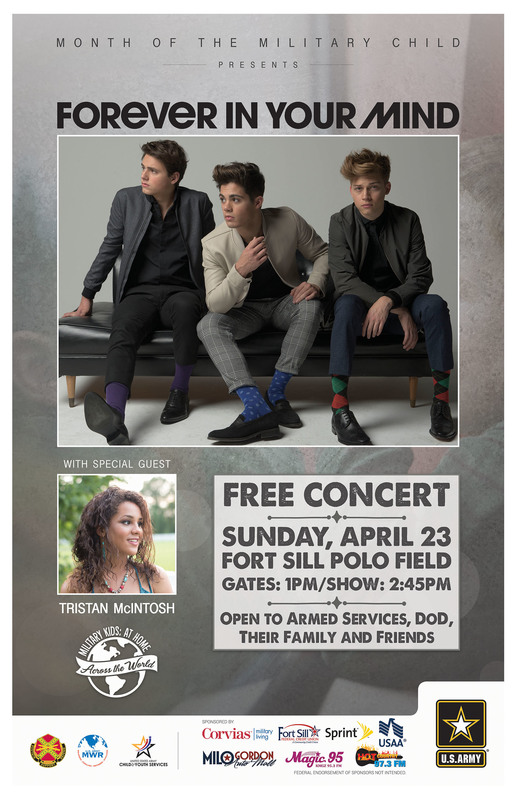 Fort Sill Presents Forever In Your Mind Free Concert Sunday April 23rd.