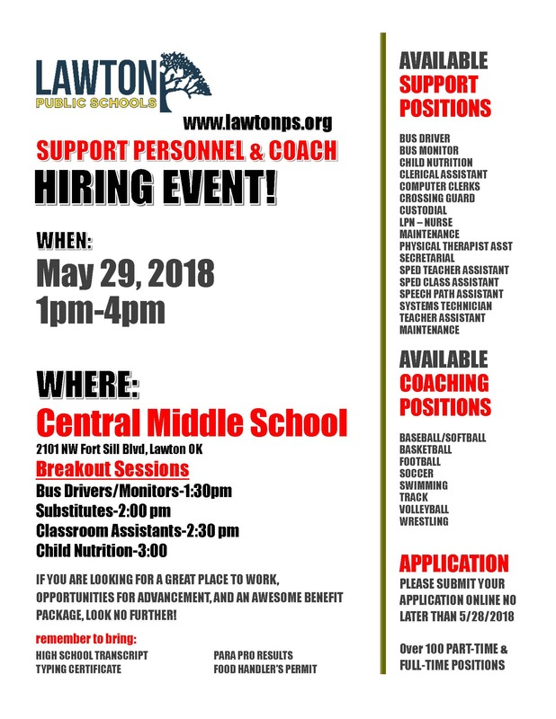 SUPPORT PERSONNEL & COACH HIRING EVENT
