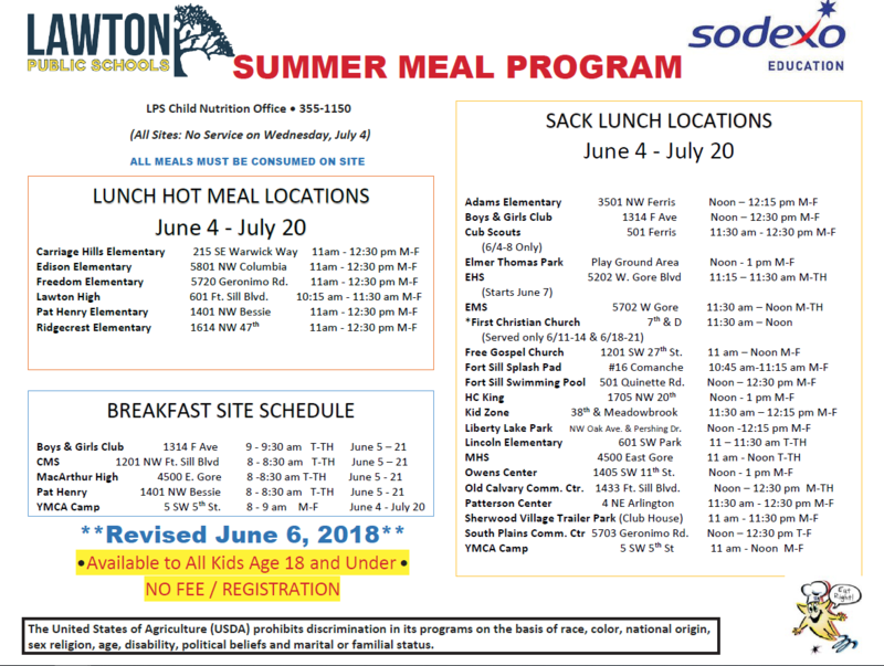 LPS Summer Meal Program 2018