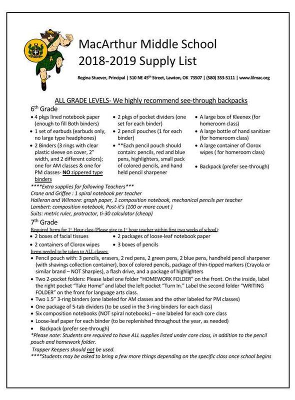 MMS 18-19 Supply List