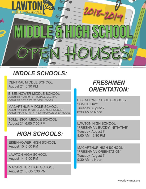 Secondary Open House & Freshmen Orientation Dates