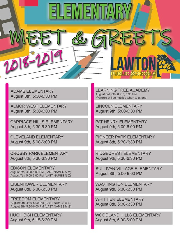 Elementary Meet & Greet Dates