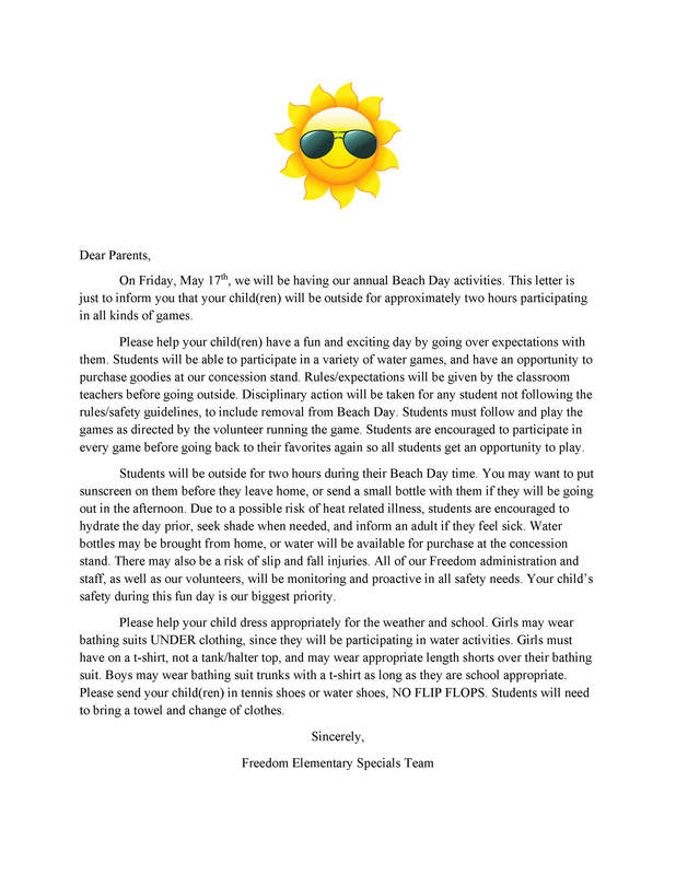 Fun Day Parent Letter