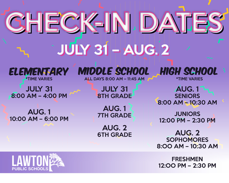 2019-2020 Check In Dates